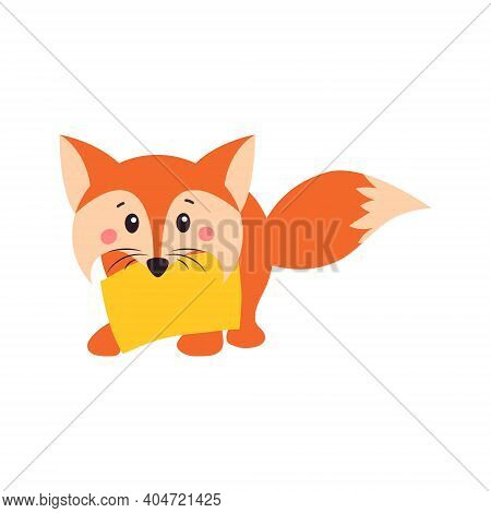 A Fox. Orange Fox. Fox Can Use A Logo Or Badge. Vector Illustration On White Isolated Background