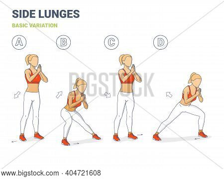 Side Lunges Girl Exercise Guidance. Lateral Lunges Home Weightloss Workout Exercise Illustration.
