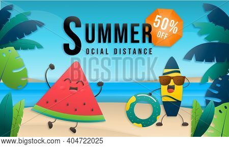 Summer Sale Online Social Distance Design With Tropical Beach Colorful Background Layout Banners. Wa