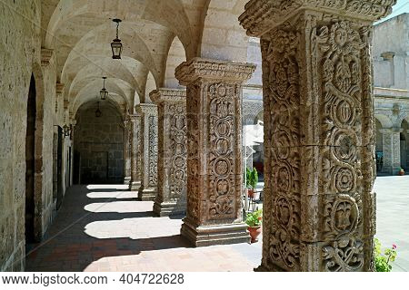 Cloister With The Gorgeous Arches Of La Compania (church Of The Society Of Jesus) Church In Arequipa