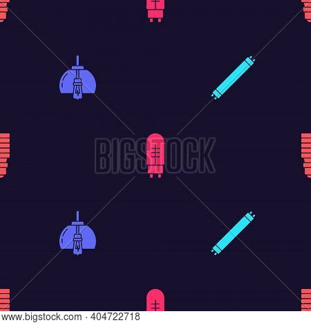 Set Fluorescent Lamp, Chandelier, Light Emitting Diode And Led Light Bulb On Seamless Pattern. Vecto