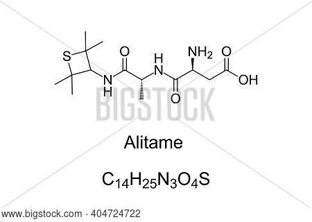 Alitame, Chemical Formula And Skeletal Structure. A Non-caloric Artificial Sweetener, Sugar Substitu
