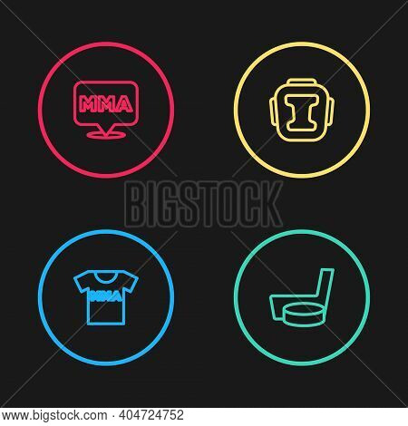 Set Line T-shirt With Fight Club Mma, Ice Hockey Stick And Puck, Boxing Helmet And Fight Icon. Vecto