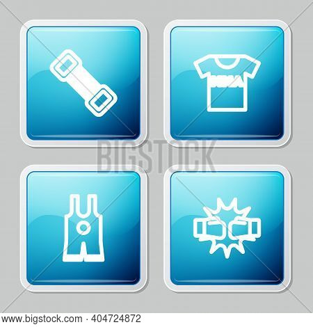 Set Line Chest Expander, T-shirt With Fight Club Mma, Wrestling Singlet And Punch Boxing Gloves Icon