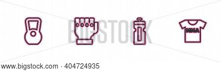 Set Line Kettlebell, Fitness Shaker, Mma Glove And T-shirt With Fight Club Icon. Vector