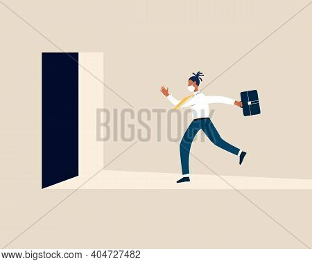 Late Black Business Man With Briefcase Rushing In A Hurry To Get On Time To Office. Business Person