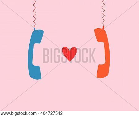 Long Distance Relationships, Couples Chatting With Each Other Via Old Desk Telephone With Cables Bet