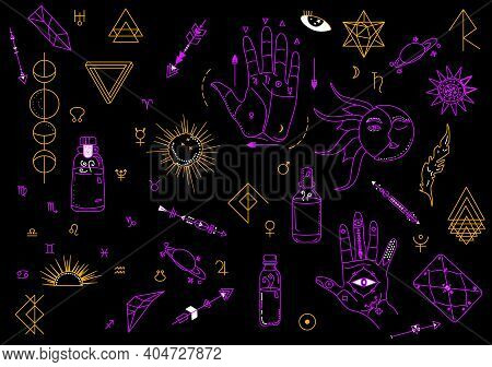 Magic And Witchcraft Symbols.indian Astrology And Palmistry Signs.planets,moon Phases And Geometric