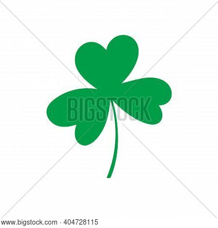 Shamrock Vector Clipart, St. Patricks Day. Green Simple Element Isolated On White Background.