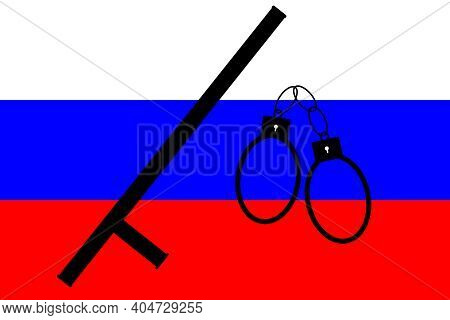 Protests In Russia. Police State In Russia. Police Brutality Concept. Russia Is Protesting Against T
