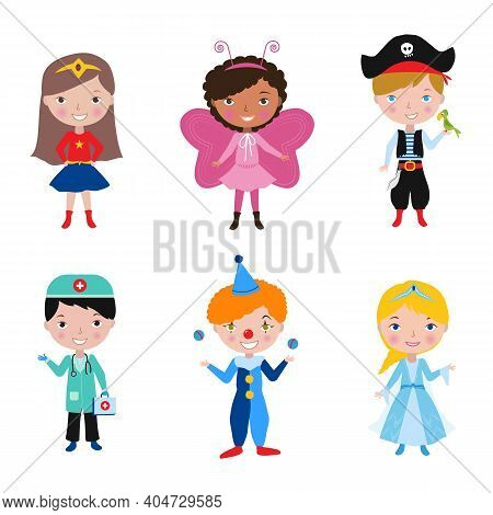 Kids Wearing Different Costumes For Costume Party. Children Purim Carnival Funfair Parad Concept. Cu