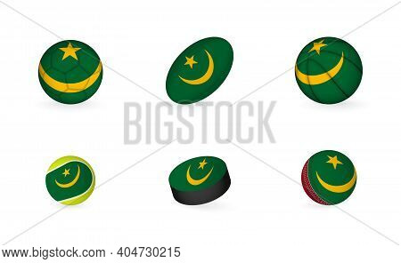 Sports Equipment With Flag Of Mauritania. Sports Icon Set Of Football, Rugby, Basketball, Tennis, Ho