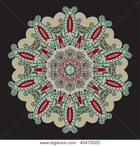 Colorful round ornamental pattern, mosaic vector illustration poster