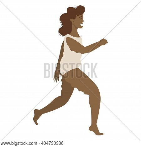 A Black Happy Woman In A Cellulite Swimsuit, Overweight Runs In A Flat Cartoon Style, Isolated On A