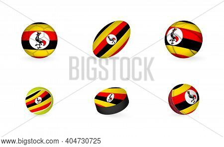 Sports Equipment With Flag Of Uganda. Sports Icon Set Of Football, Rugby, Basketball, Tennis, Hockey