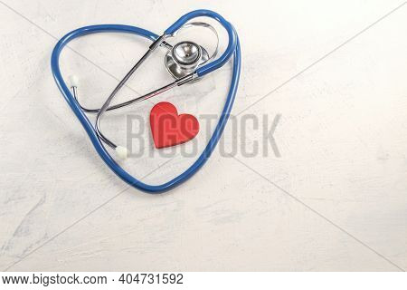Red Heart And Stethoscope. Valentines Day Or Health Care, Love, Organ Donation, Mindfulness, Wellbei