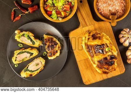 Roast Pork Tenderloin Coated With Dough And Spinach. Diet Food. Home Cooking. Pork Tenderloin.
