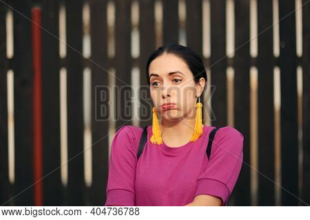 Unhappy Bored Woman Feeling Undecided And Puzzled