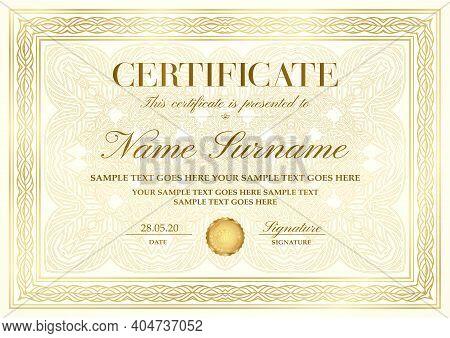 Gold Elegant Certificate With Golden Border (frame), Curve Pattern With Fine Line Ornament On Backgr