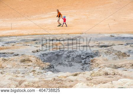 Myvatn Iceland - June 20. 2020: The Namafjall Geothermal Field Is Located In Northeast Iceland, On T