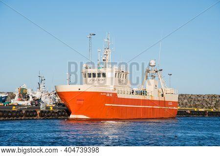 Thorlakshofn Iceland - September 4. 2020: Trawler Jon A Hofi In Port
