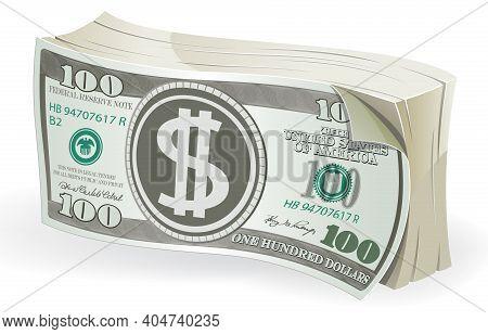 Bundle Of One Hundred Dollar Bills On White Background. Vector Illustration