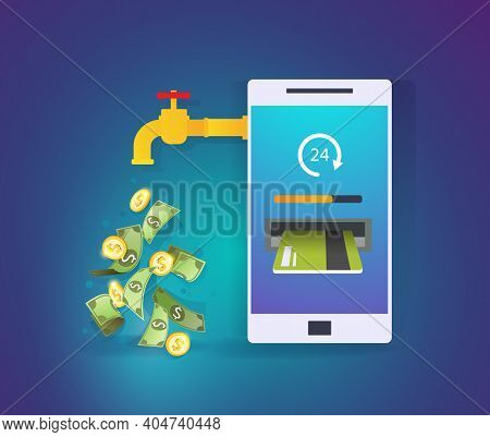 Smartphone With Credit Card And Cash. Mobile Banking Application. Online Payment, Cash Transaction,