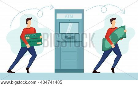A Man Cashes Money At An Atm. A Tiny Man With A Credit Card. A Tiny Man With Banknotes. Vector Illus