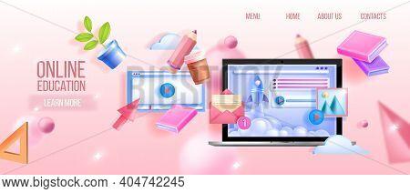 Vector Online Education, Webinar, University, School Digital Classes Web Background With Laptop, Boo