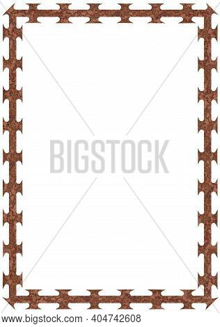 Rusty Barbed Razor Wire Tape Frame, Large Detailed Isolated Textured Vertical Corroded Macro Closeup