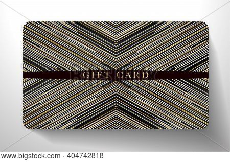 Premium Gift Card With Horizontal Gold, Black, Silver Glitch Lines On Black Background. Dark Royal T