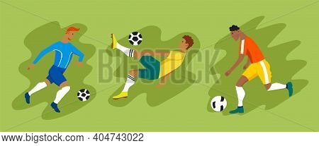 Football Players In Different Poses. Vector Set Of Icons. Male Athletes Run, Jump, Score A Goal. Ame