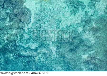 Blue Ocean Waves And Bubbles. Beautiful Calm Sea With Sunlight Reflection, Tranquil Sea Harmony Of C