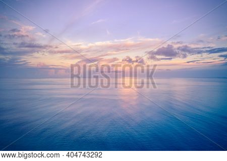 Relaxing Seascape With Wide Horizon Of The Sky And The Sea. View Of Sunset Sunrise Sky. Panoramic Be