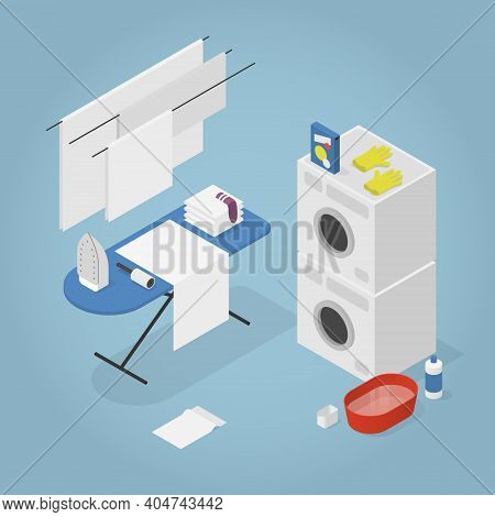 Vector Isometric Laundry Room Illustration. Washing Machine With Dryer, Clothesline And Ironing Boar