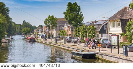 Haastrecht, Netherlands - May 21, 2020: Panorama Of The River Hollandsche Ijssel In The Historic Cen