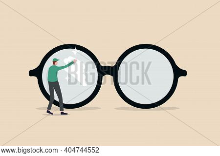 Clear Business Vision, See Through Lenses In Details Or Clean And Clear Business Outlook Concept, Mi