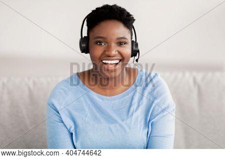 Operator Of Hot Line. Portrait Of Cheerful Female African American Customer Service Representative W
