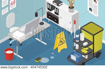 Vector Isometric Office Cleaning Service Illustration. Office Space In A Process Of Cleaning. Office