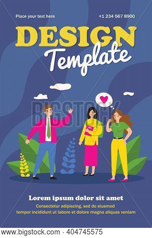 Happy Guy Flirting With Pretty Women. Love, Greeting, Boyfriend Flat Vector Illustration. Relationsh