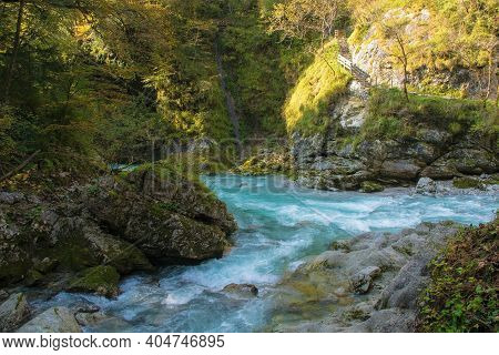 The Confluence Of The Rivers Tolminka And Zadlascica In Tolmin Gorge In The Triglav National Park, N