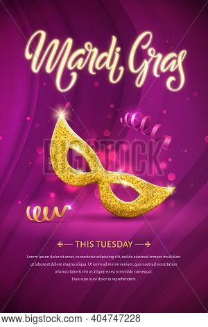 Mardi Gras Lettering Brochure. Fat Tuesday Poster With Handwritten Typography And Golden Mask. Vecto