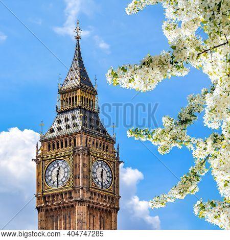 Big Ben Tower In Spring, London, Uk