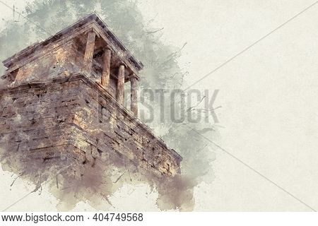 Temple Of Nicky Ateros Against The Background Of A Cloudy Sky In Athens Acropolis