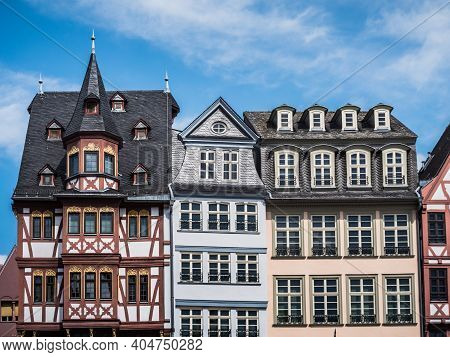 Half Timbered Houses On The East Side Of The Roemerberg Called Samstagsberg In Frankfurt Am Main, Ge