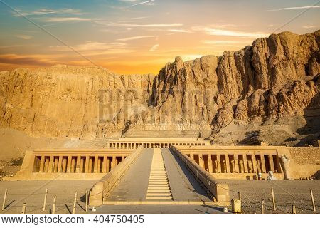 Temple Of Queen Hatshepsut, View Of The Temple In The Rock In Egypt
