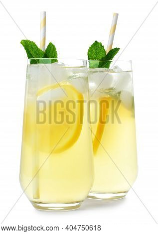 Natural Lemonade With Mint On White Background. Summer Refreshing Drink