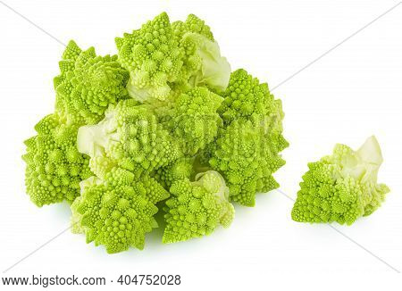 Romanesco Broccoli Or Roman Cauliflower Isolated On White Background. Vegan Food Concept.