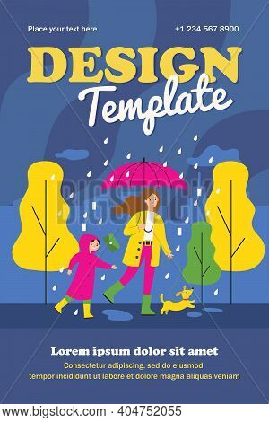 Happy Mum Walking In Raining Day With Dog And Son Isolated Flat Vector Illustration. Cartoon Mother