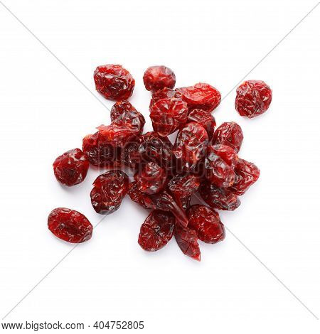 Pile Of Tasty Dried Cranberries Isolated On White, Top View